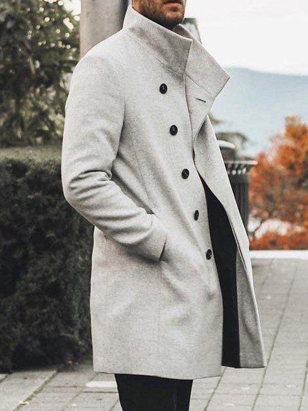 Lapel Plain Mid-Length Winter Casual Coat