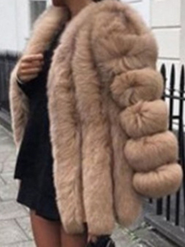 Plain Standard Thick Loose Faux Fur Overcoat