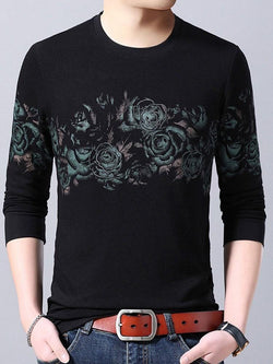 Floral Casual Print Straight Long Sleeve T-shirt