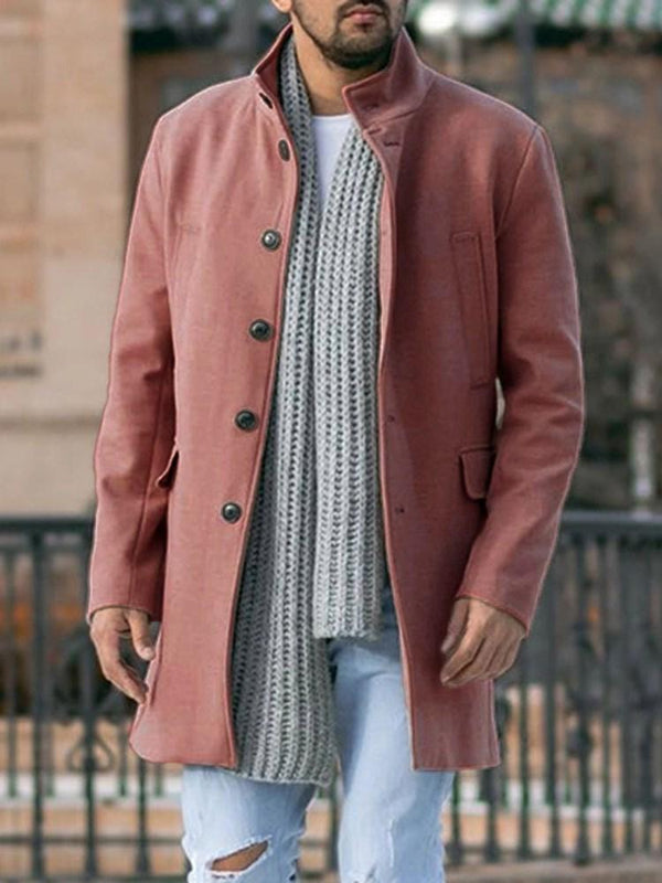 Stand Collar Mid-Length Plain Fall Straight Coat