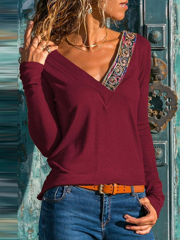 Long Sleeve Standard V-Neck Ethnic Loose T-Shirt