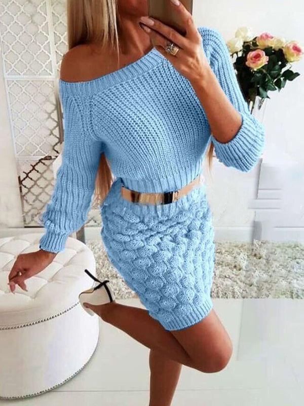 Above Knee Long Sleeve Round Neck Sheath Pullover Dress