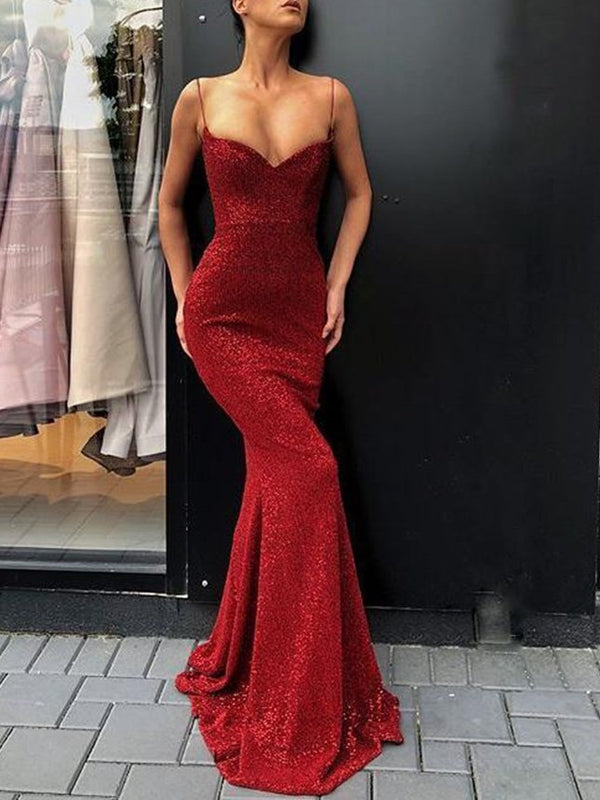 Sequins Floor-Length Trumpet/Mermaid Spaghetti Straps Evening Dress