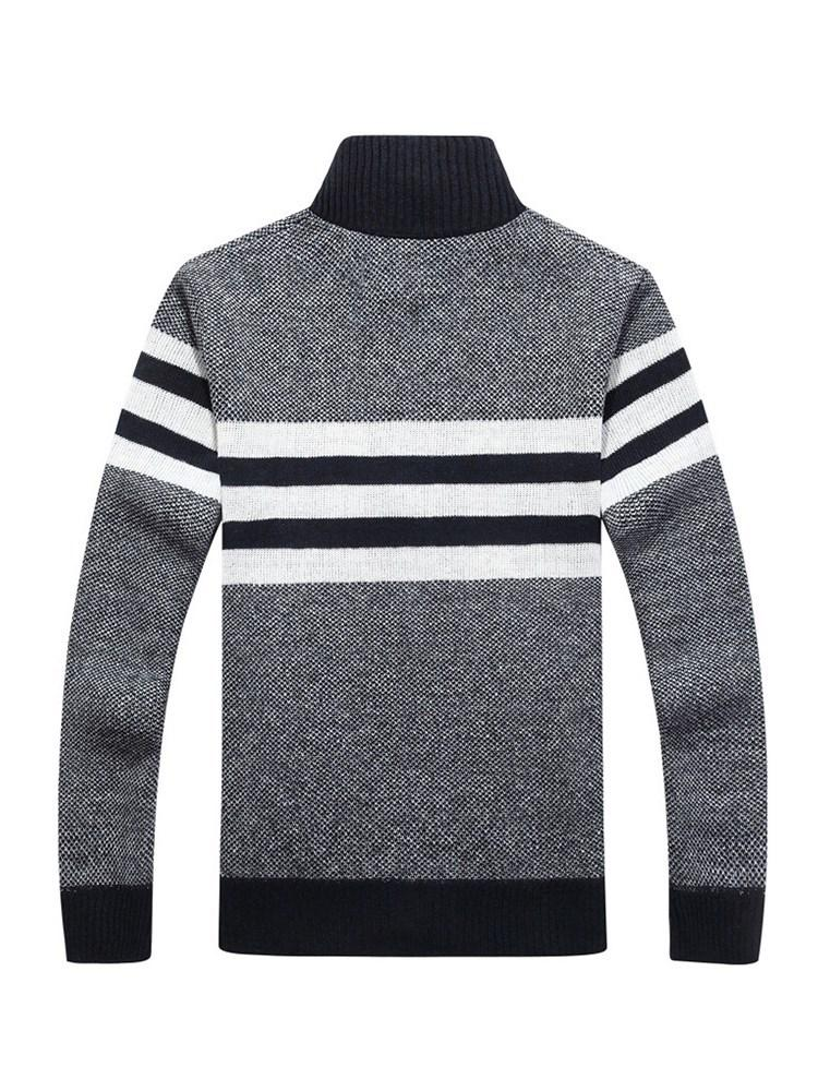 Standard Stand Collar Stripe Straight Spring Sweater