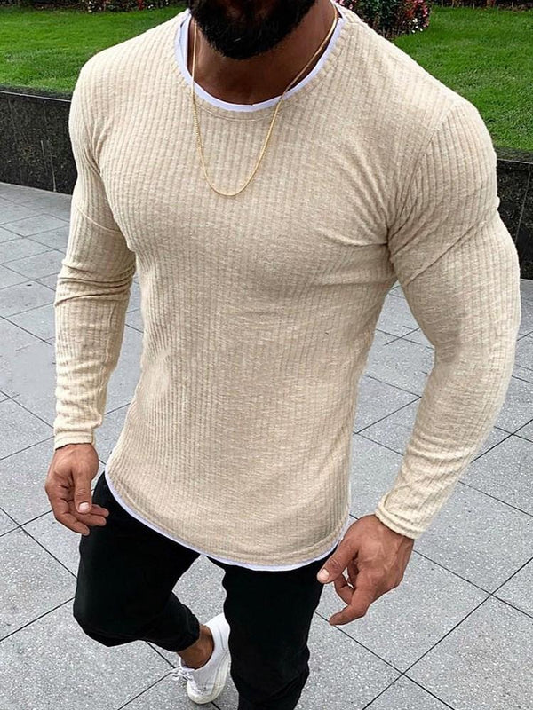 Round Neck Plain Standard Fall European Sweater