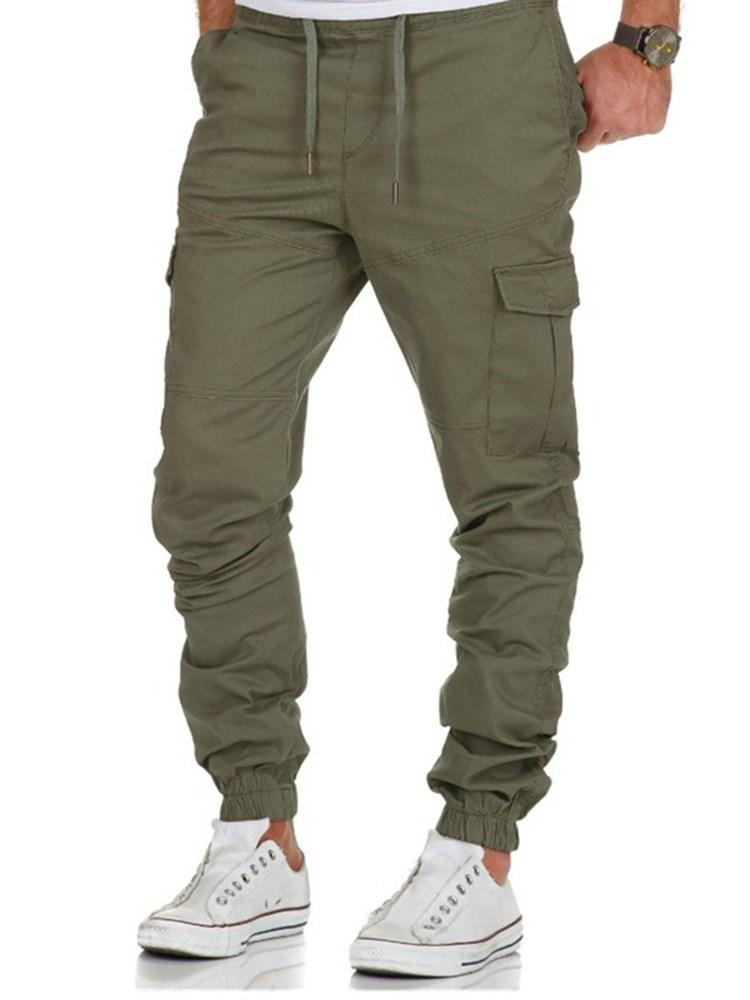 Overall Plain Thin Casual Lace-Up Casual Pants