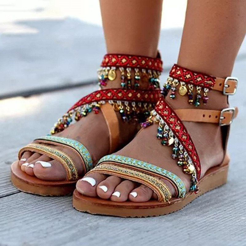 Open Toe Flat With Zipper Western Color Block Sandals