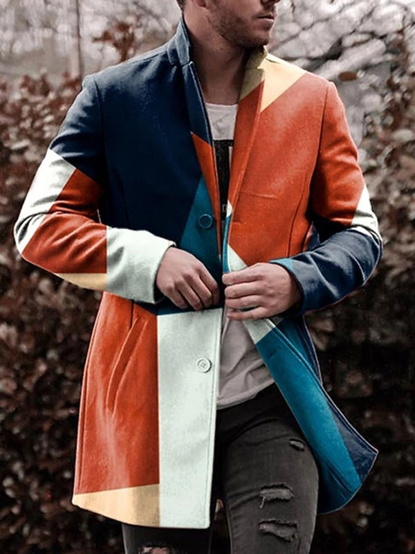 Button Color Block Mid-Length Single-Breasted Casual Coat