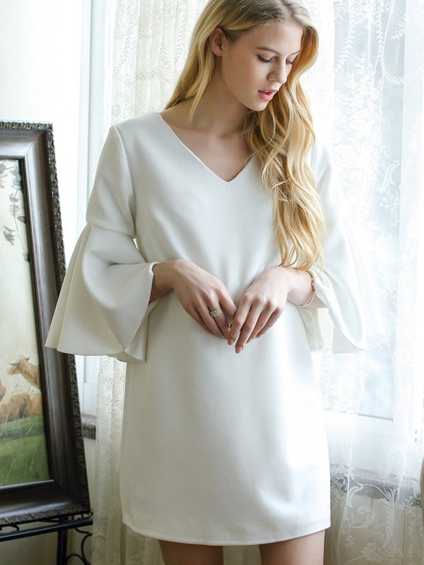 Chic V-Neck Flare Sleeve Maternity Dress