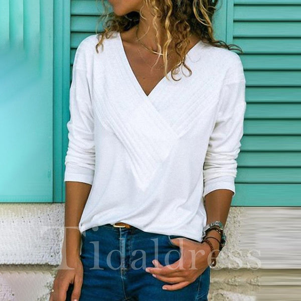 V-Neck Loose Model Mid-Length Long Sleeve Plain Pattern Casual Style Pure Color T-shirt