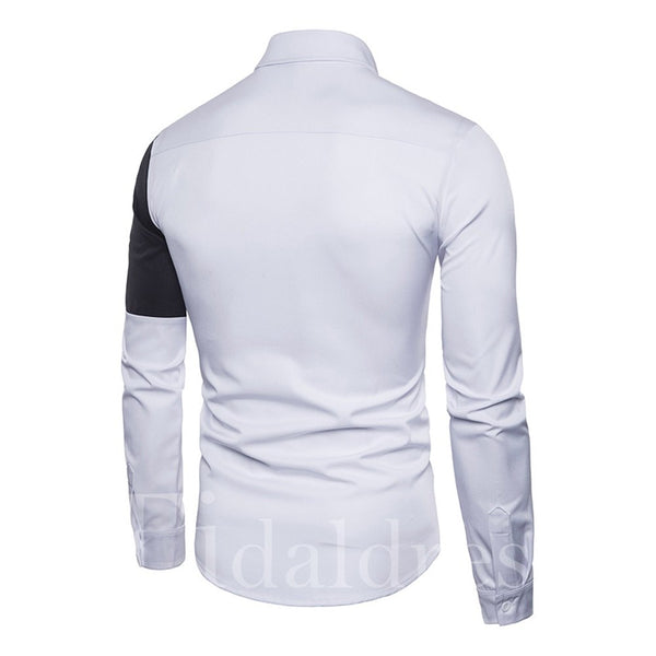 Color Block Lapel Slim Model Cotton Blends Long Sleeve Single-Breasted Casual Style Men's Shirt
