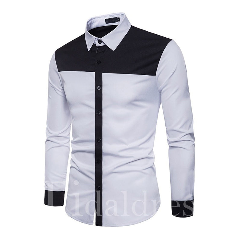 Patchwork Color Block Casual Style Slim Model Long Sleeve Single-Breasted Cotton Blends Shirt