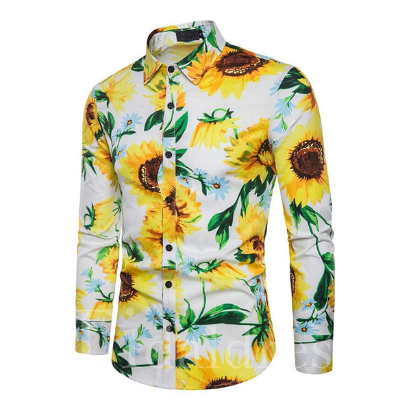 Casual Style Print Plant Pattern Single-Breasted Lapel Slim Model Long Sleeve Cotton Blends Shirt