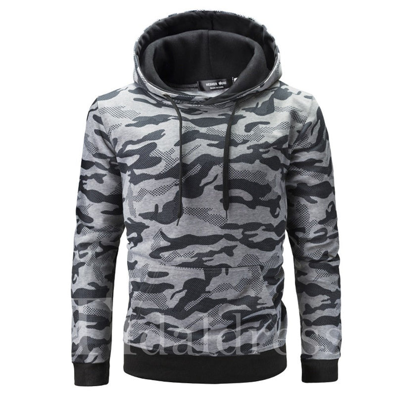 Camouflage Print Loose Model Pullover Casual Men's Hoodie