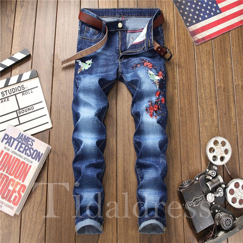 Embroidery Zipper Mid-Waist Men's Jeans