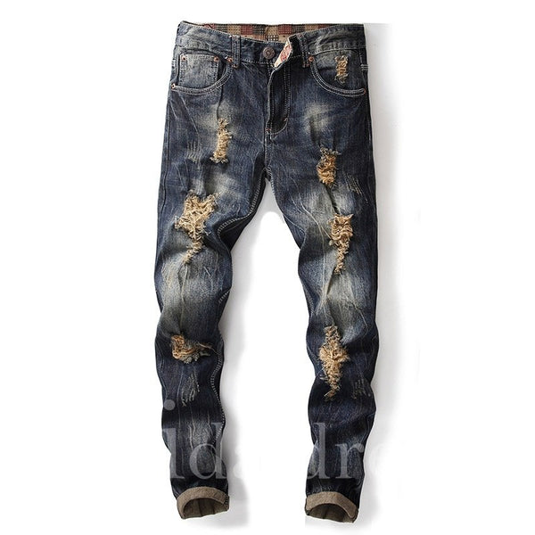 Hole Plain Zipper Mid-Waist Men's Jeans