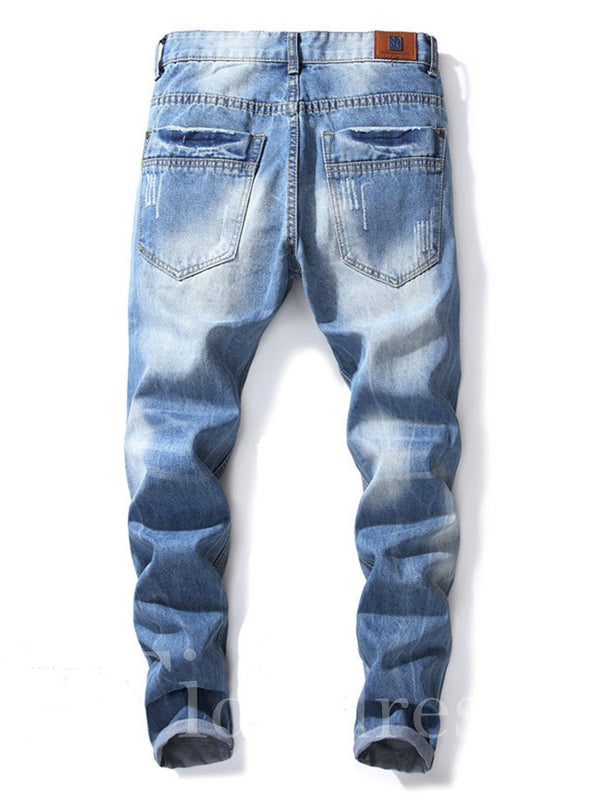 Hole Zipper Plain Mid-Waist Men's Jeans