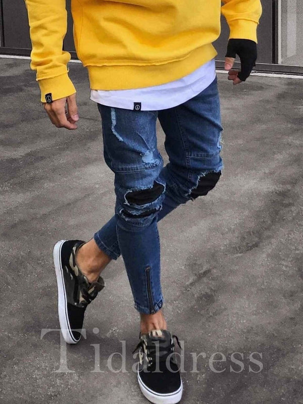 Zipper Patchwork Pleated Hole Men's Skinny Jeans