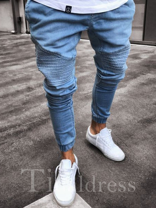 Shirred Plain High-Waist Skinny Men's Jeans
