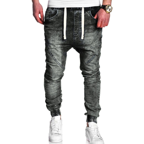 Lace-Up Micro-Elastic Casual Style Men's Pencil Jeans