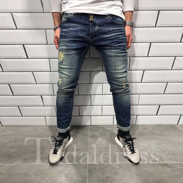 Hole Distressed Slim Model Men's Pencil Jeans