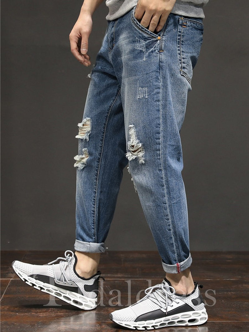 Dark Blue Full Length Mid-Waist Cotton Men's Ripped Jeans