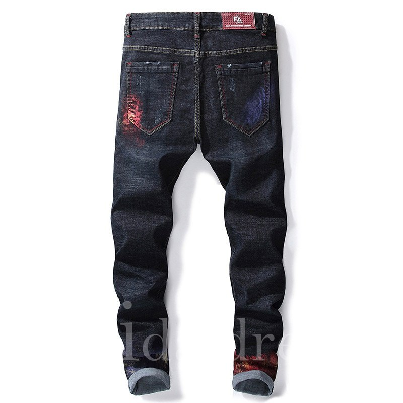 Hole Zipper Mid-Waist Full Length Lacquer Men's Jeans