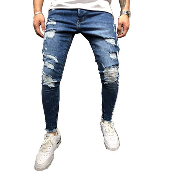 Broken Hole Worn Palin Mid-Waist Men's Jeans
