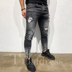 Slim Model Mid-Waist Cotton Blends Men's Jeans