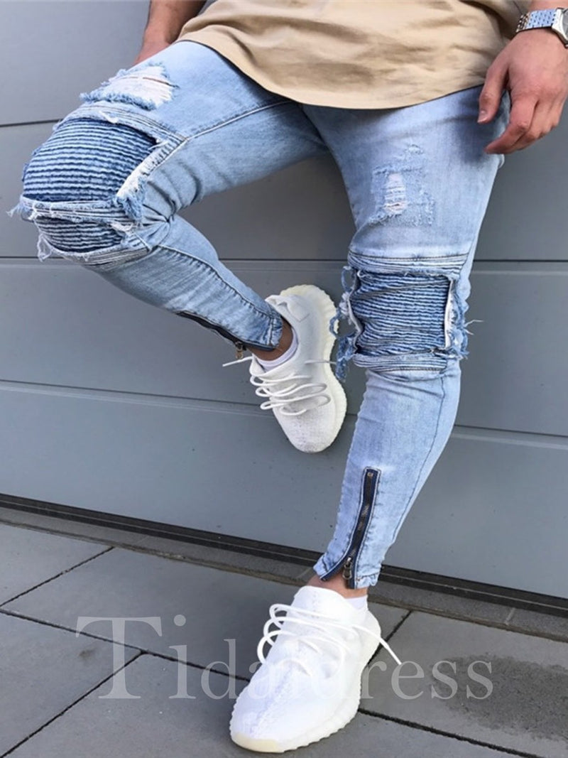 Plain Zipper Worn Hole Mid-Waist Cotton Denim Men's Jeans