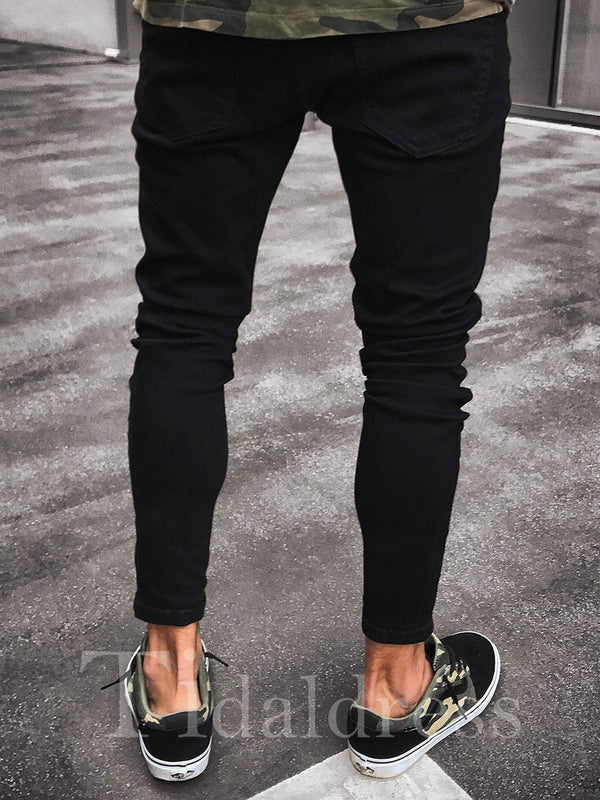 Plain Light Wash Zipper Black Hole Men's Jeans