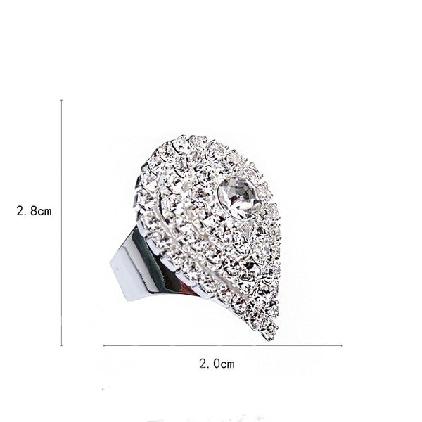 Alloy Diamante Technic Water Drop Ring
