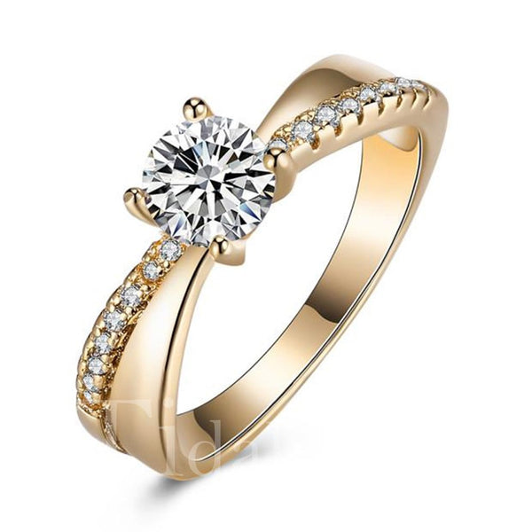 Prom Korean Style Diamante Technic Prong Ring
