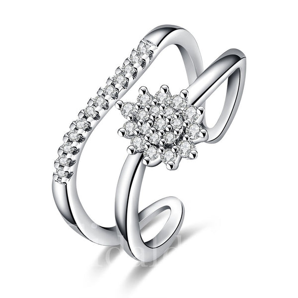 Diamante Technic Engagement Wedding Geometric Pattern Alloy Ring