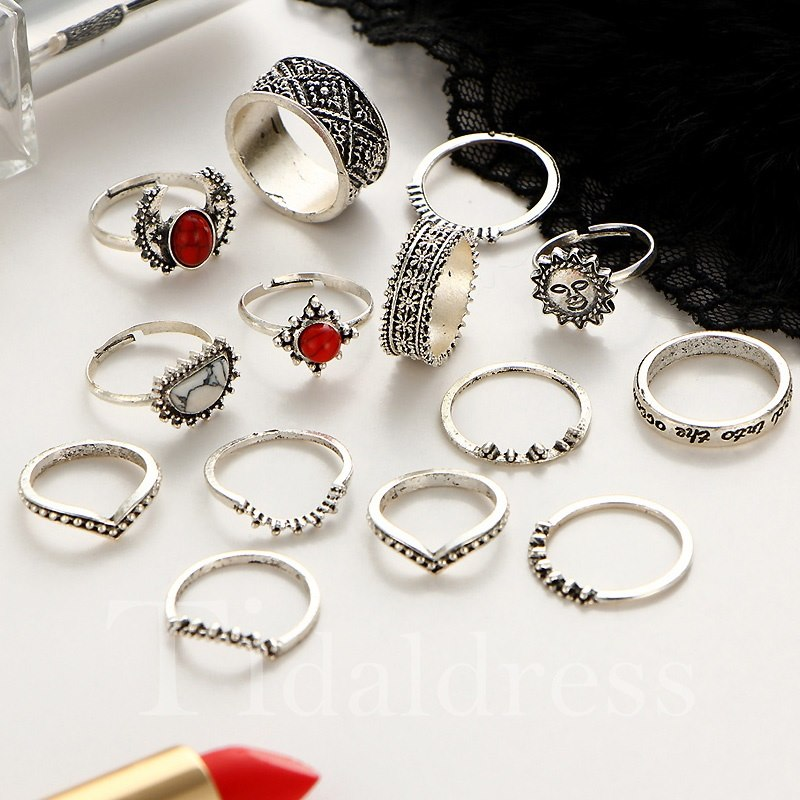 Vintage Style Birthday Gift Holiday Female Alloy Ring