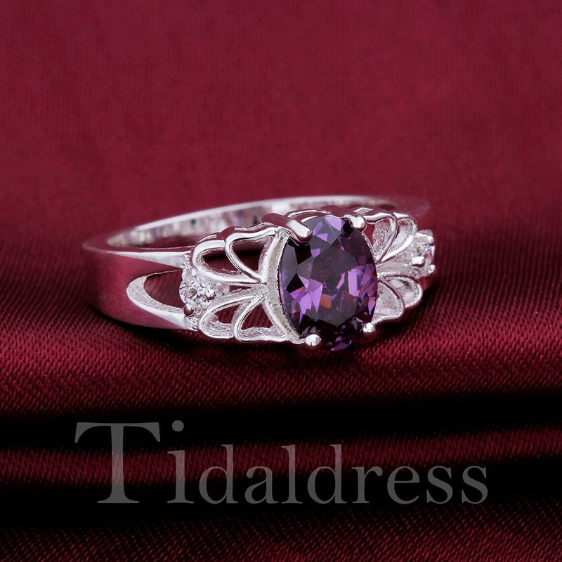 Geometric Pattern Female Wedding Birthday Gift Ring