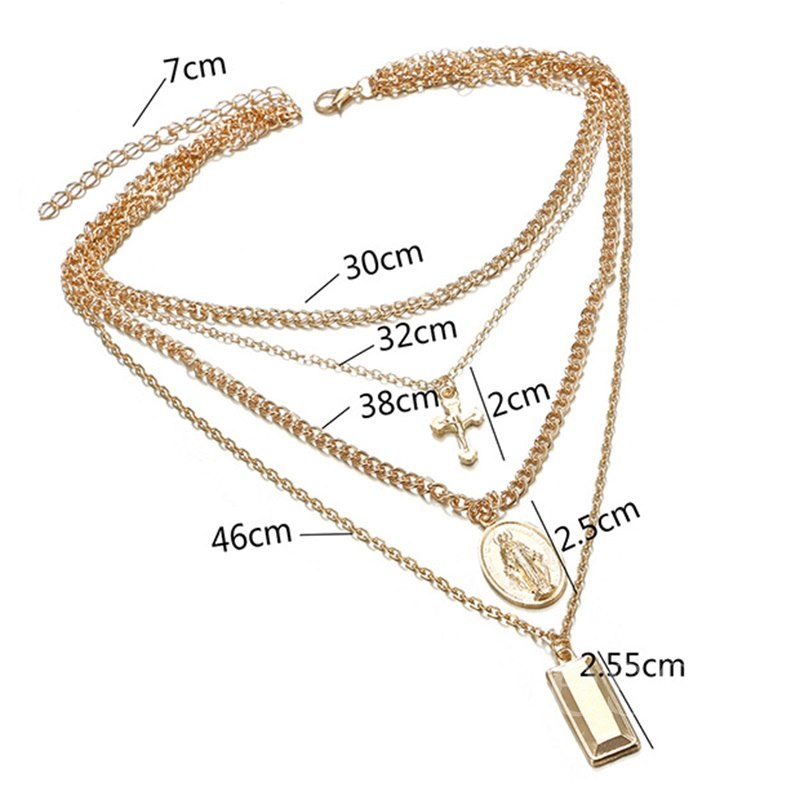 Multilayer Golden Cross Charm Link Chain Necklace