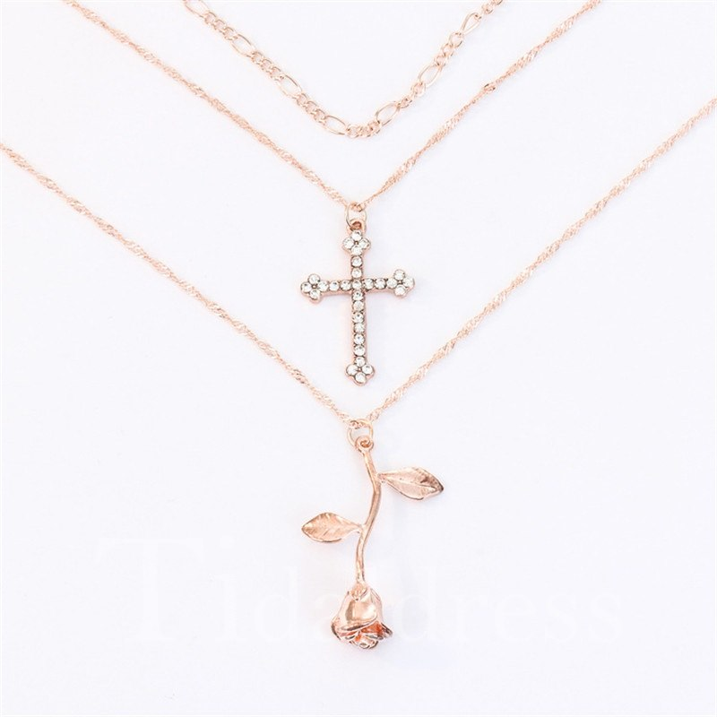 Rose and Cross European Style Holiday Necklace