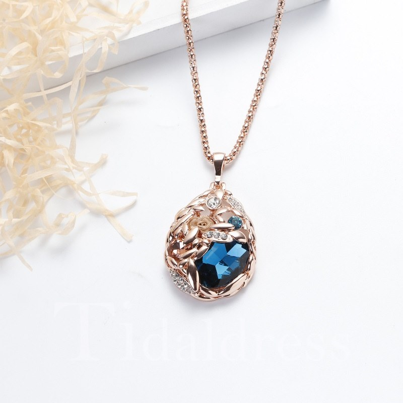 Snake Chain Artificial Crystal Gemmed Technic Necklace
