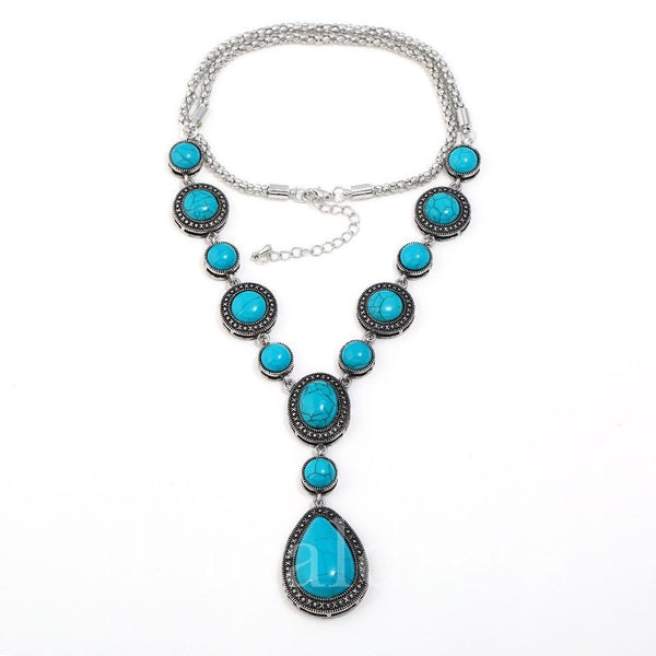 Water Drop Pattern Alloy Chain E-Plating Necklace
