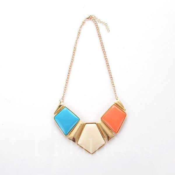 Wedding Party Birthday Gift Geometric Pattern Necklace
