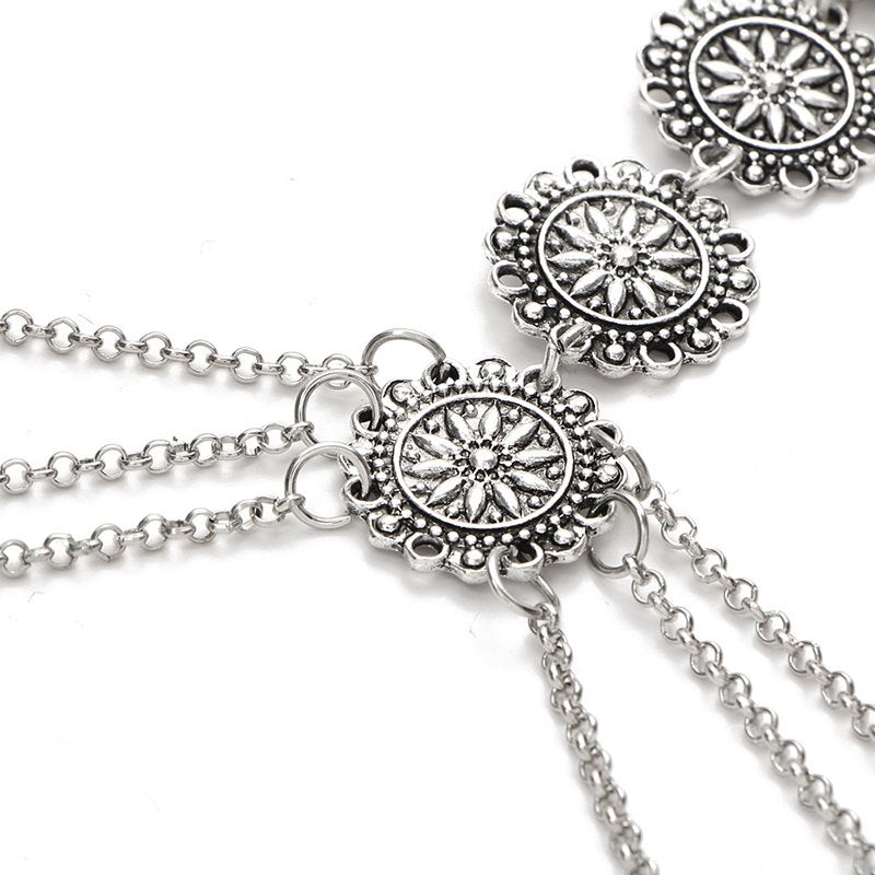 Retro Style Alloy Pendant Geometric Pattern Necklace