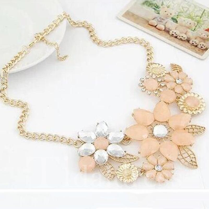 Snake Chain Female Floral Pattern Party Gift Necklace
