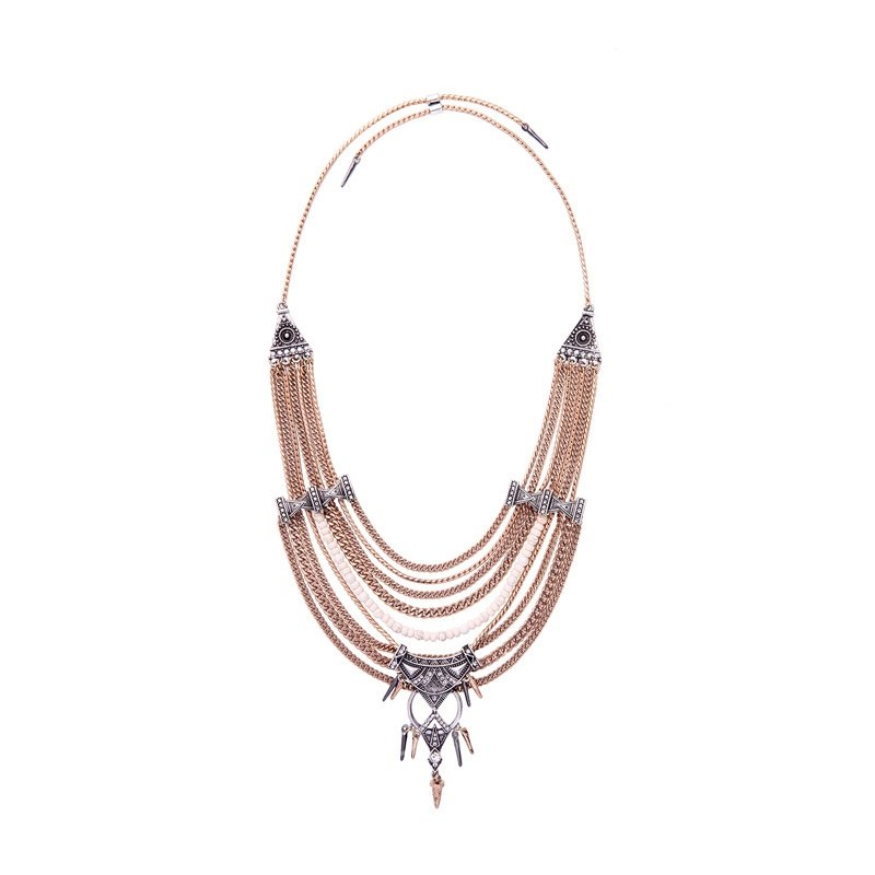 Alloy Snake Chain Diamante Technic Geometric Necklace
