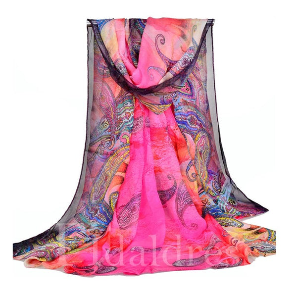 Shawl Model Rectangle Silhouette Female Floral Scarf
