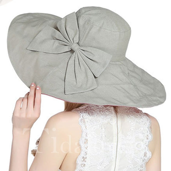 Cotton Bowknot Embellishment Plain Pattern Sun Hat