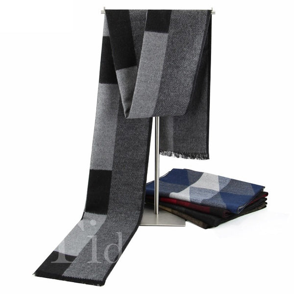 Rough Selvedge Plaid Pattern Cotton Fall Winter Scarf