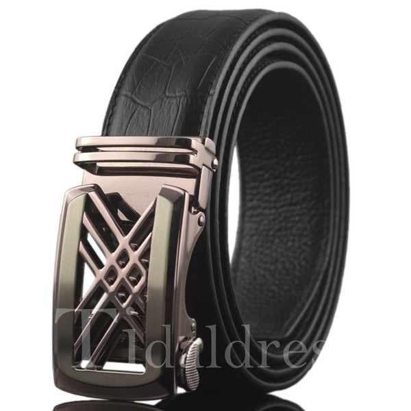 Regular Silhouette Embossed Leather Men's Belt