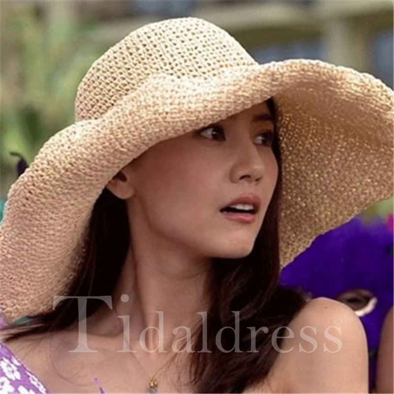 Plain Pattern Wide Brim Straw Plaited Sun Hat