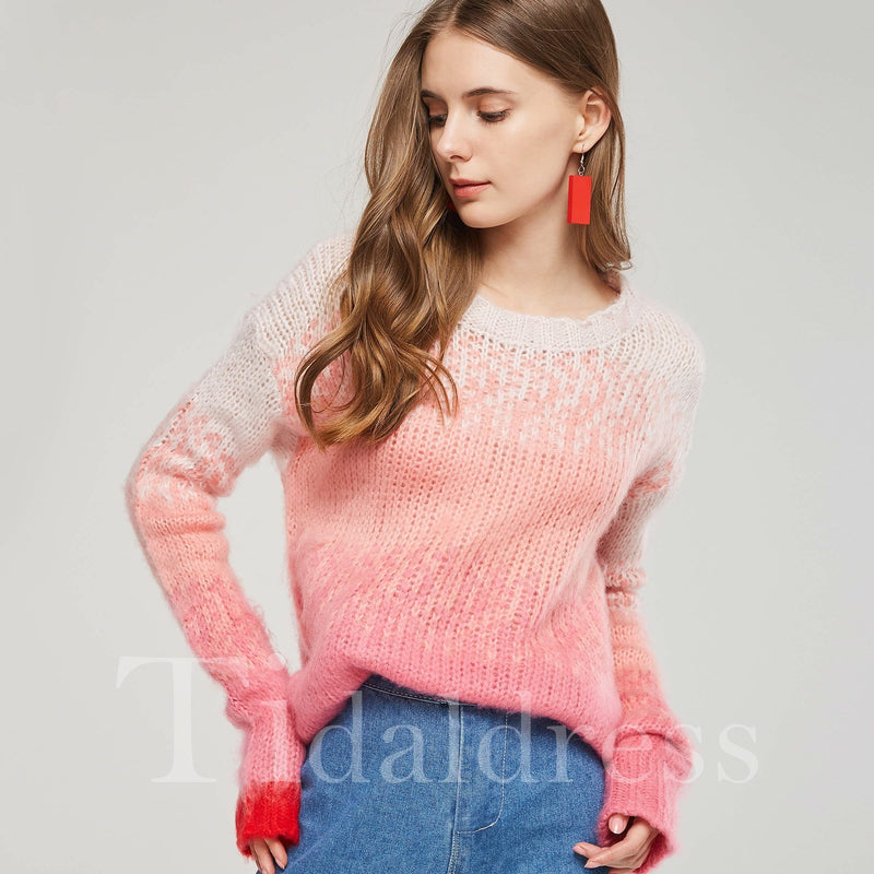 Sweet Style Candy Color Long Sleeve Women's Knitwear